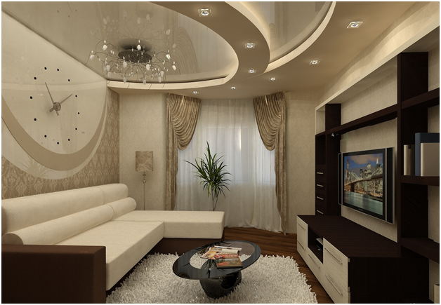 Дизайн потолка в гостиной и зале (9 фото)