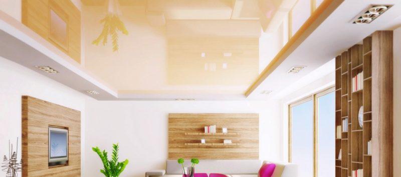 глянцевый светлый натяжной потолок