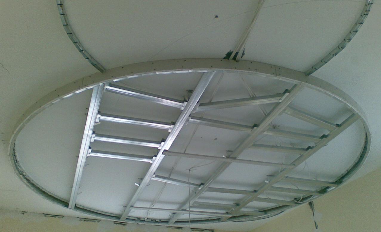 этой каркасные потолки из гипсокартона фото материал